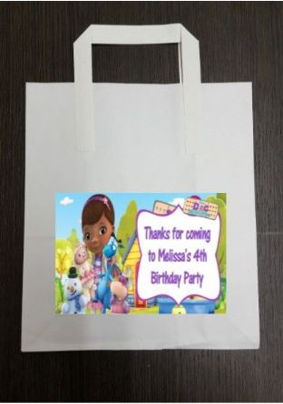 4 x Doc McStuffins Birthday Party Bags with Personalised Sticker